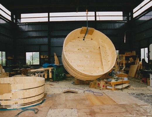 丸型木製風呂加工